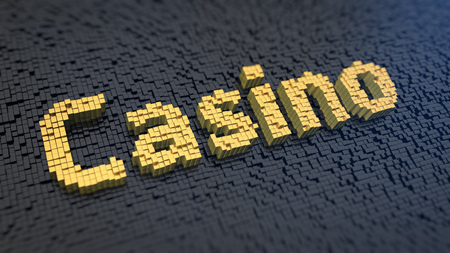 effervescence: Word Casino of the yellow square pixels on a black matrix background. Gambling concept. Stock Photo