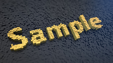 Exemplar: Word Sample of the yellow square pixels on a black matrix background