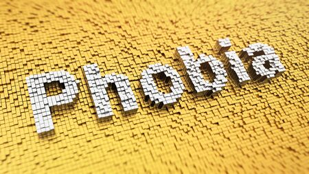 phobia: Pixelated word Phobia made from cubes, mosaic pattern Stock Photo