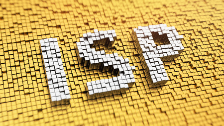 Pixelated acronym ISP made from cubes, mosaic pattern Stock Photo