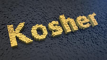 legitimate: Word Kosher of the yellow square pixels on a black matrix background Stock Photo