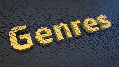genres: Word Genres of the yellow square pixels on a black matrix background. Art evening header concept. Stock Photo