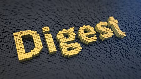 digest: Word Digest of the yellow square pixels on a black matrix background. News edition concept.