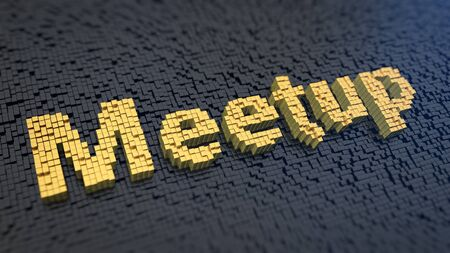 meetup: Word Meetup of the yellow square pixels on a black matrix background. Conversation concept. Stock Photo