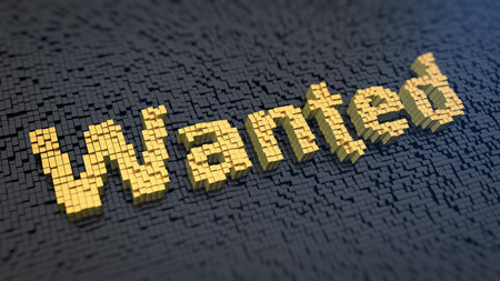 Word Wanted of the yellow square pixels on a black matrix background Stock Photo