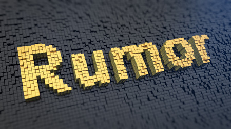 bruit: Word Rumor of the yellow square pixels on a black matrix background. Hot product news leak concept.