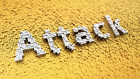 assail: Pixelated word Attack made from cubes, mosaic pattern Stock Photo
