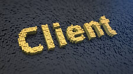 centric: Word Client of the yellow square pixels on a black matrix background