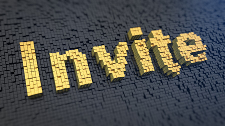 invited: Word Invite of the yellow square pixels on a black matrix background