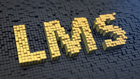 learn: Acronym LMS of the yellow square pixels on a black matrix background. Learning management system concept. Stock Photo