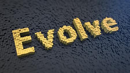 evoluer: Parole 'Evolve' des pixels carr�s jaunes sur fond noir une matrice Banque d'images