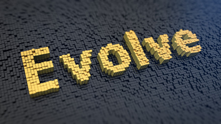 evolve: Word Evolve of the yellow square pixels on a black matrix background
