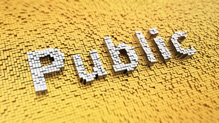 citizenry: Pixelated word Public made from cubes, mosaic pattern Stock Photo