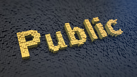 citizenry: Word Public of the yellow square pixels on a black matrix background