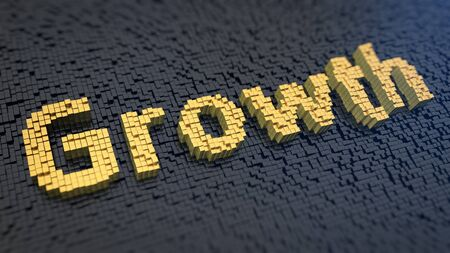 upgrowth: Word Growth of the yellow square pixels on a black matrix background
