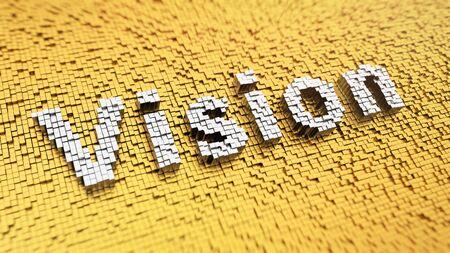 and future vision: Palabra de pixelado 'Visión' hecha de cubos, patrón de mosaico Foto de archivo