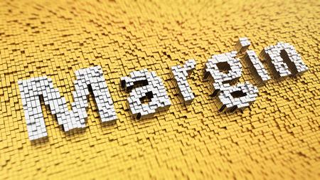 margine: Pixelated parola 'margine' fatta da cubi, mosaico