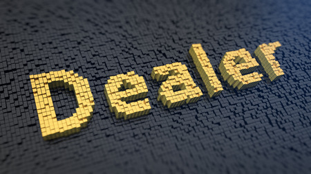 marketeer: Word Dealer of the yellow square pixels on a black matrix background. Sales department concept. Stock Photo