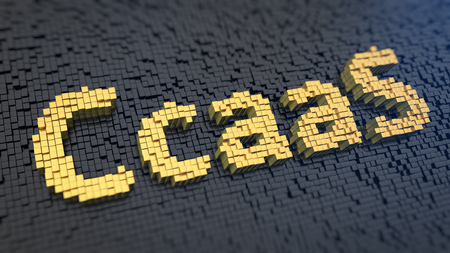 contact center: Acronym CcaaS of the yellow square pixels on a black matrix background. Contact Center as a Service