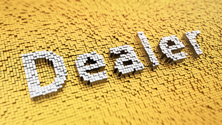 marketeer: Pixelated word Dealer made from cubes, mosaic pattern Stock Photo