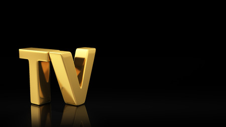copyspace: Gold acronym TV on black background with reflection and copyspace. Good for slide with text