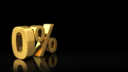 discounting: Gold symbol Zero percent on black background with reflection and copyspace. Good for slide with text
