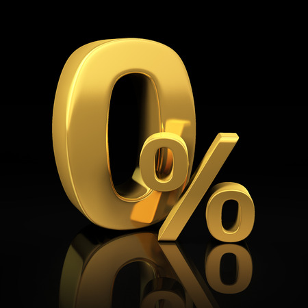 discounting: Zero percent letters on black background with reflection.