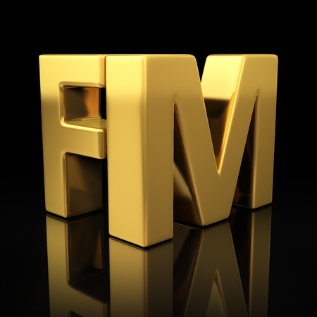 fm: FM letters on black background with reflection.