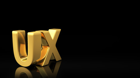 experiential: Gold acronym UX on black background with reflection and copyspace. Good for slide with text Stock Photo