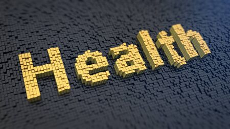 heartiness: Word Health of the yellow square pixels on a black matrix background