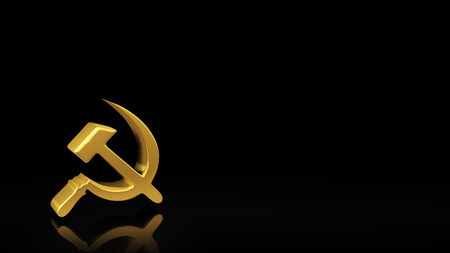 Gold sickle and hammer symbol on black background with reflection and copyspace. Good for socialism slide with text