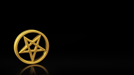 antichrist: Gold pentagram symbol on black background with reflection and copyspace. Good for slide with text