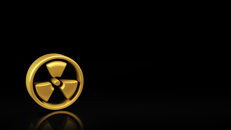 copyspace: Gold radiation symbol on black background with reflection and copyspace. Good for warning slide with text
