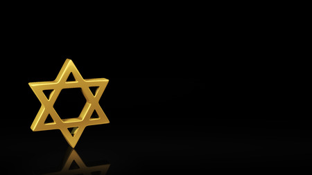 judah: Gold Mogen Dovid symbol on black background with reflection and copyspace. Good for slide with text