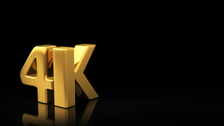 copyspace: Gold 4K sign on black background with reflection and copyspace. Good for slide with text