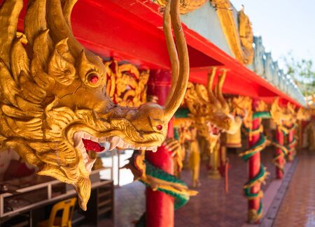 phra nang: Sculptures of asian dragons in the temple Wat Phra Nang Sang, Phuket, Thailand