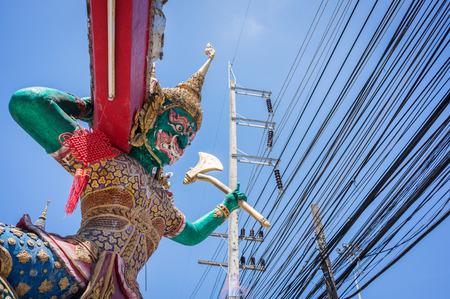 phra nang: Giant Rakshasa standing at the entrance of the temple Wat Phra Nang Sang, Phuket, Thailand