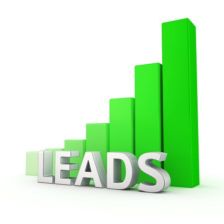 Growing green bar graph of Leads on white. Sales growth concept.
