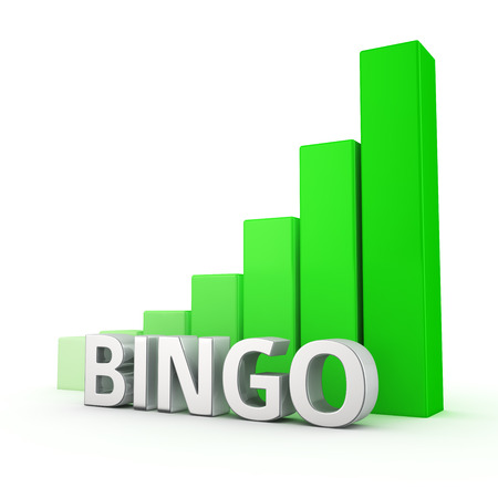 upturn: Growing green bar graph of Bingo on white. Prize growth concept.