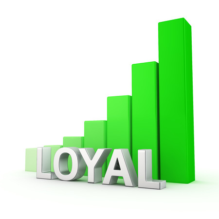 staunch: Growing green bar graph of Loyal on white