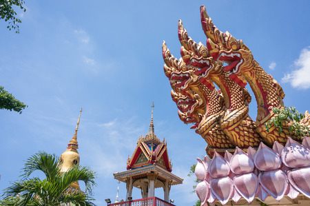 phra nang: Asian dragons in buddhist temple Wat Phra Nang Sang in Phuket, Thailand