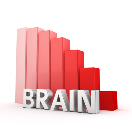moving down: Moving down red bar graph of Brain on white. Mind weakness concept.