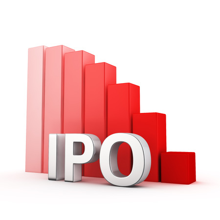 initial public offering: Moving down red bar graph of IPO on white. Business decrease concept.