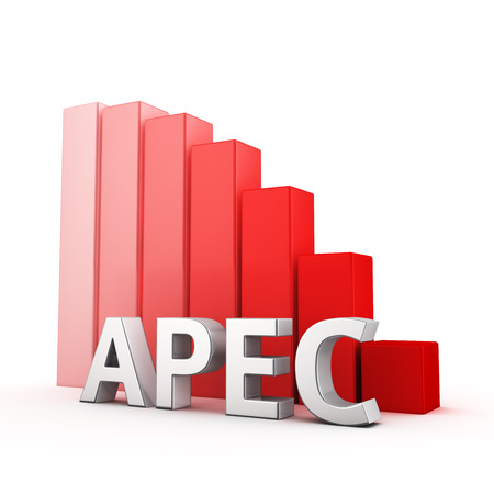 moving down: Moving down red bar graph of APEC on white