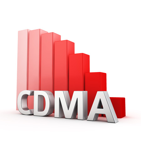 moving down: Moving down red bar graph of CDMA on white. Modular connection decrease concept. Stock Photo