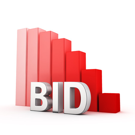 moving down: Moving down red bar graph of Bid on white Stock Photo