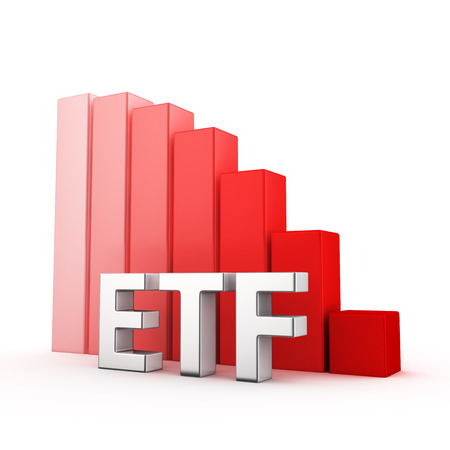 moving down: Moving down red bar graph of ETF on white. Financial funds decrease concept.