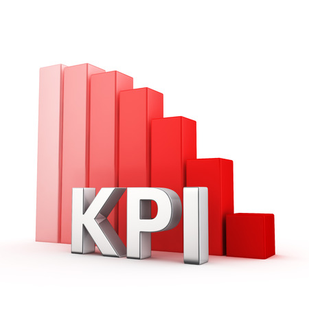 moving down: Moving down red bar graph of KPI on white. Profit decrease concept. Stock Photo