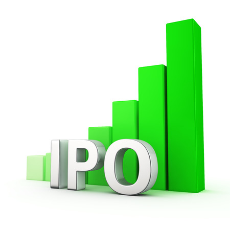 initial public offerings: Growing green bar graph of IPO on white. Business growth concept.