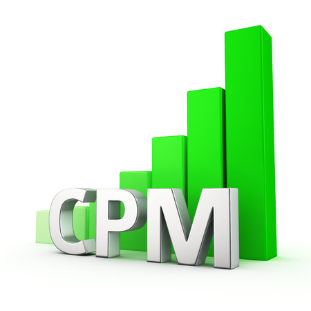 impressions: Growing green bar graph of CPM on white. Cost per impressions growth concept.